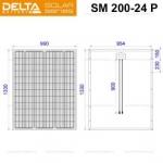 Солнечная панель (модуль) Delta SM 200-24 P (24В / 200Вт)